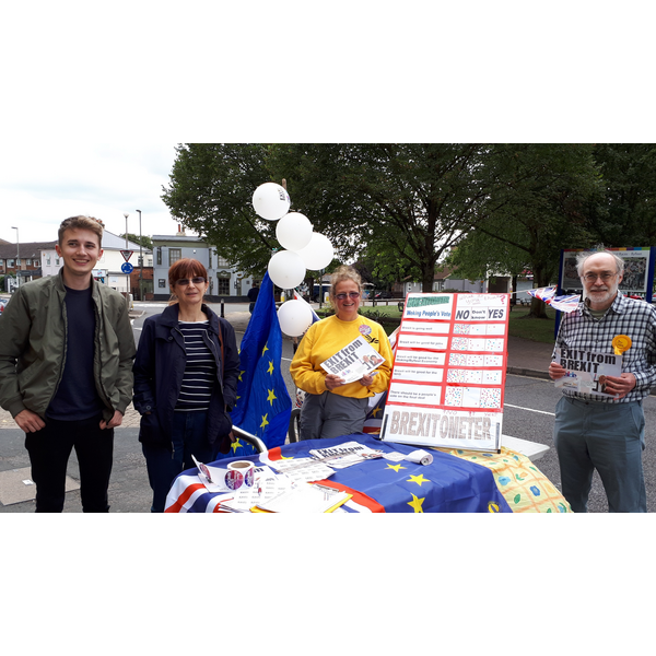 Byfleet Exit from Brexit Stall (Woking Lib Dems)